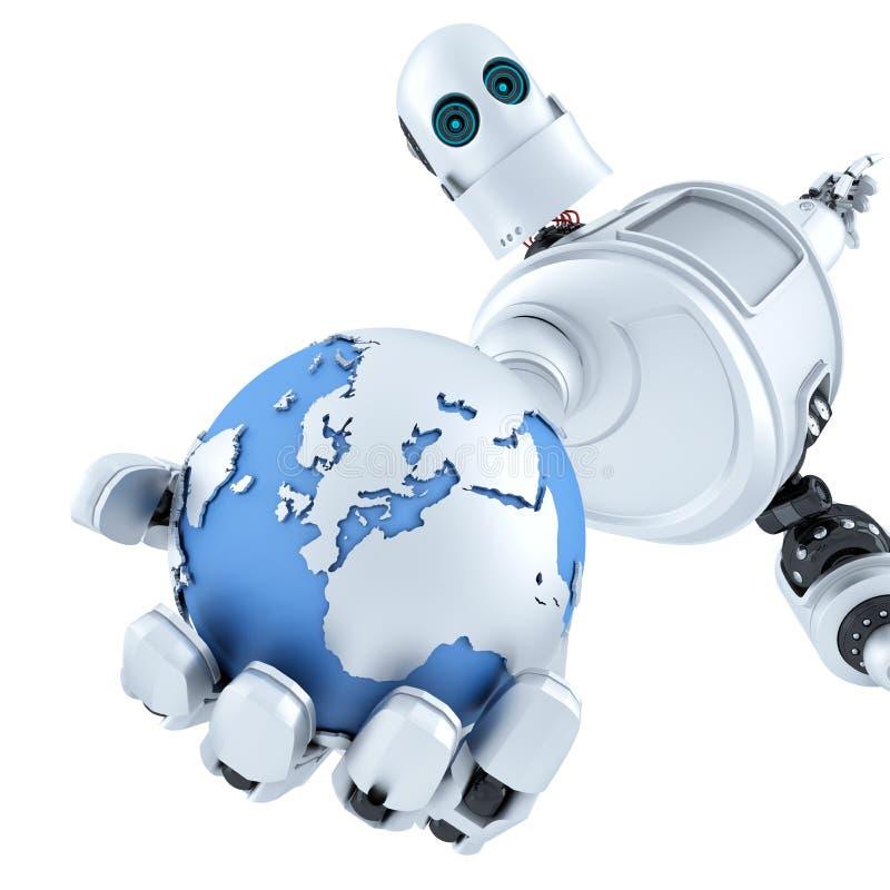 Глобус в руке робота изолированная принципиальной схемой белизна технологии изолировано Содержит путь клиппирования иллюстрация штока