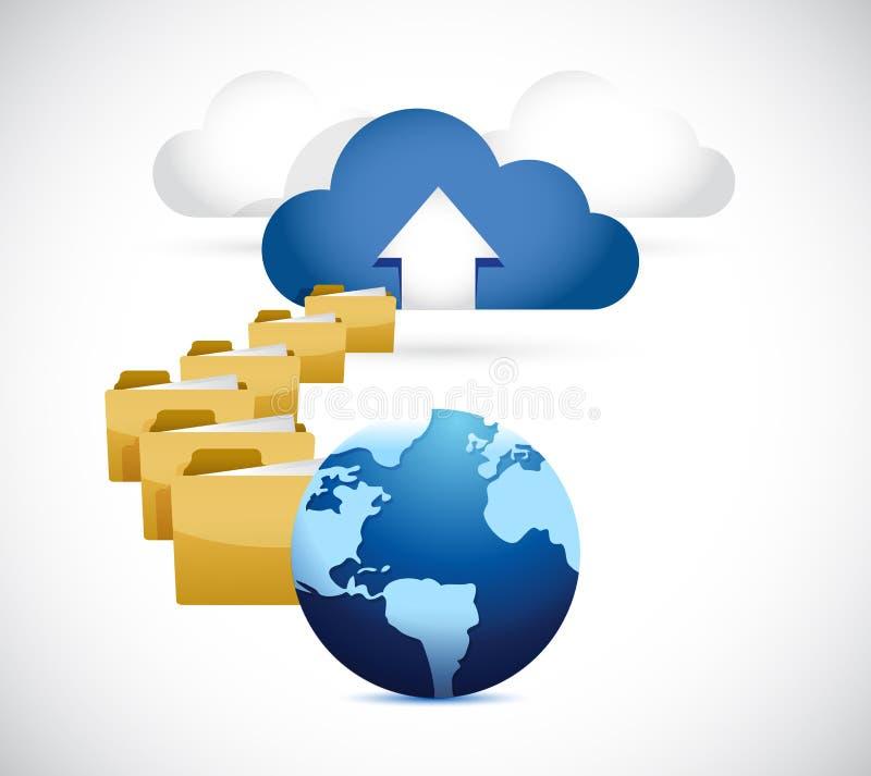 Глобус загружая информация к облаку. вычислять облака иллюстрация вектора