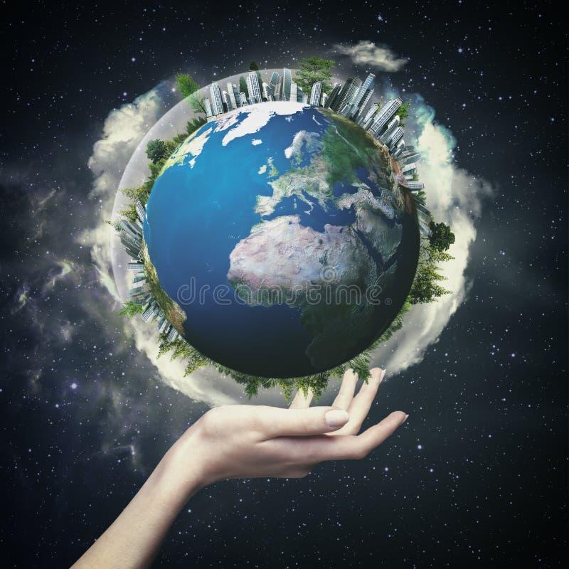 Глобус земли против звёздных предпосылок бесплатная иллюстрация
