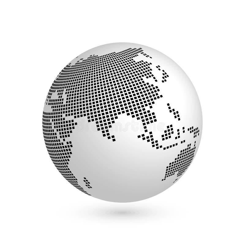 Глобус земли планеты с черной приданной квадратную форму картой континентов Азии иллюстрация вектора 3D при тень изолированная на иллюстрация штока