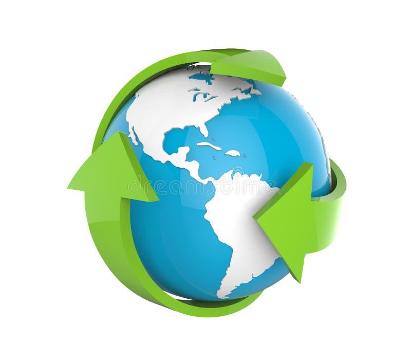 Глобус земли с зелеными стрелками иллюстрация штока