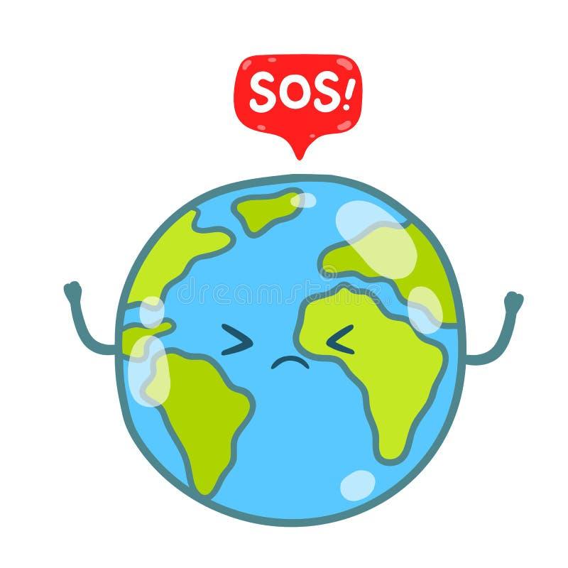 Глобус земли шаржа с сообщением SOS иллюстрация вектора