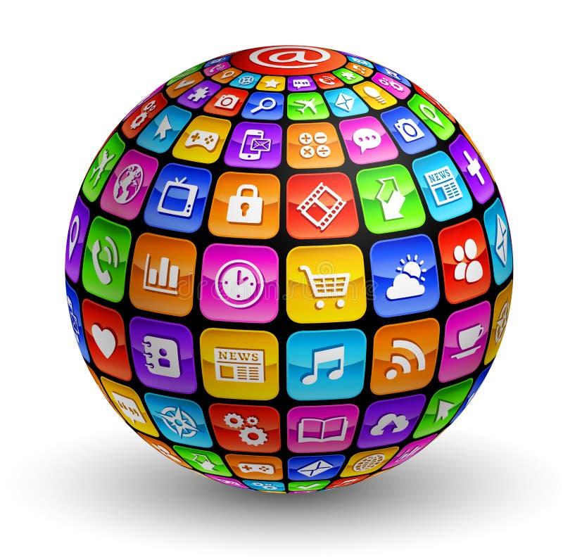 Глобус значков 3d App иллюстрация вектора