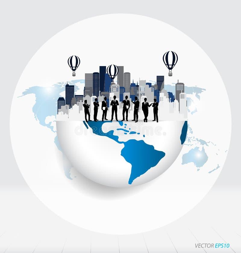 Глобус и здание с бизнесменом, могут использовать для concep дела иллюстрация штока