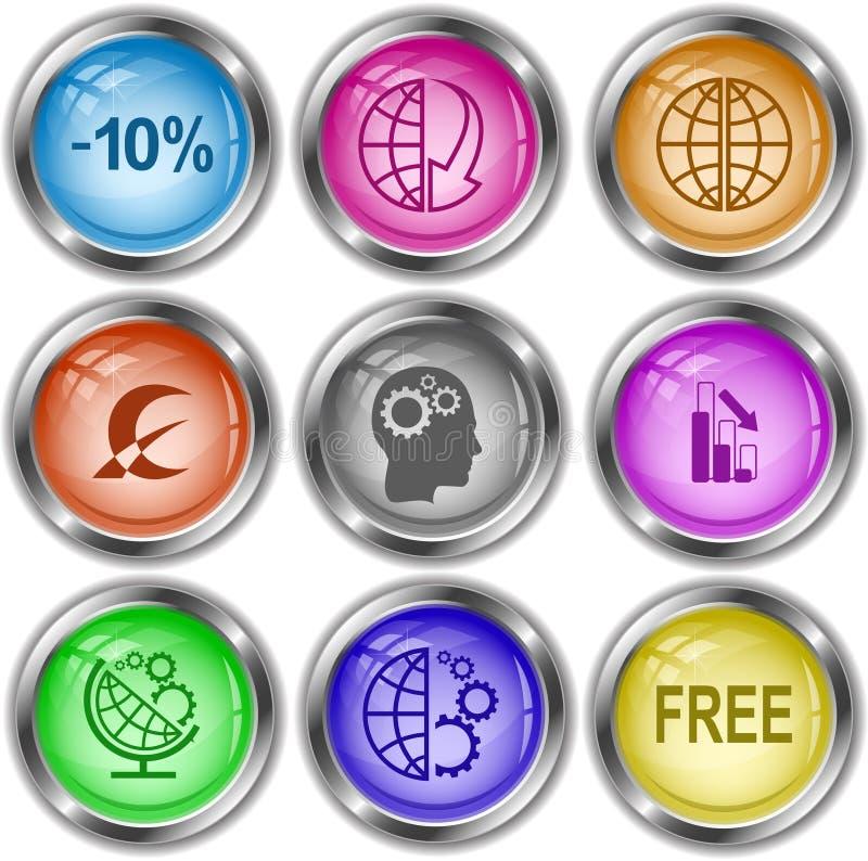 глобус и массив вниз, монетный знак, человеческий мозг, диаграмма de бесплатная иллюстрация
