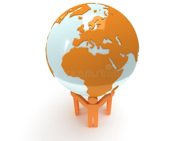 Глобус и люди планеты земли. 3D представляют. иллюстрация вектора