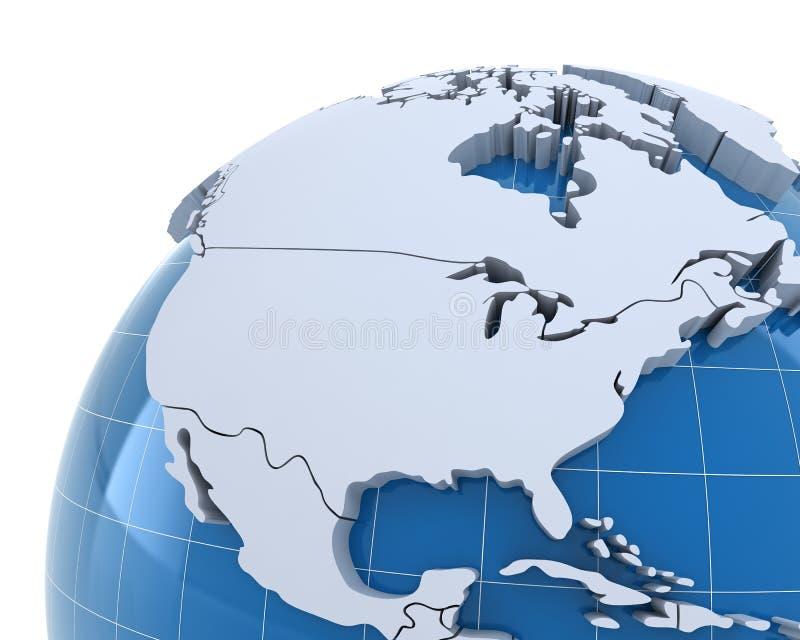 Глобус, конец-вверх на США и Канада иллюстрация штока