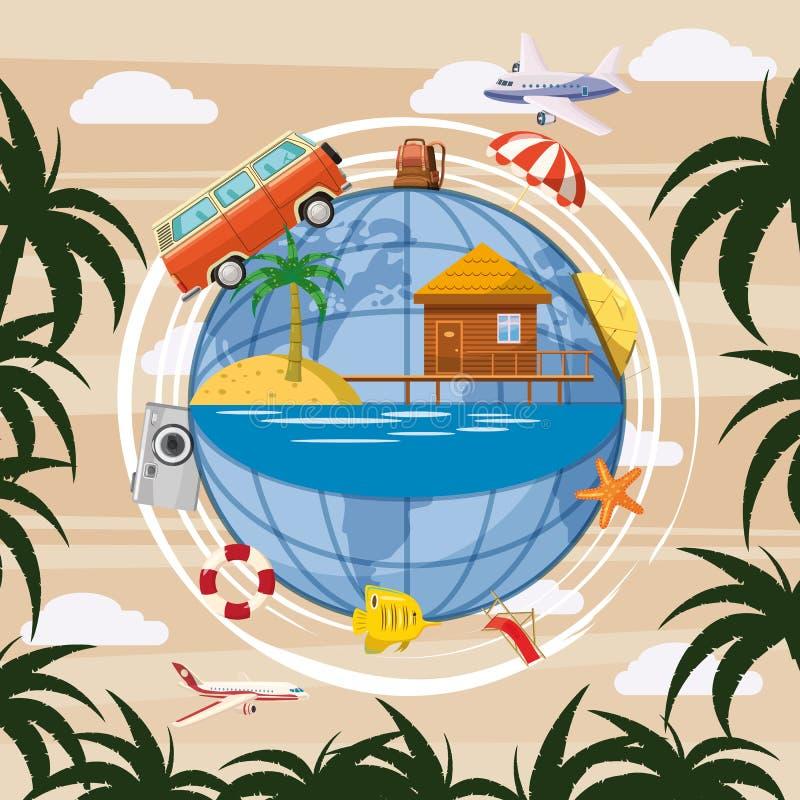 Глобус концепции туризма перемещения, стиль шаржа бесплатная иллюстрация