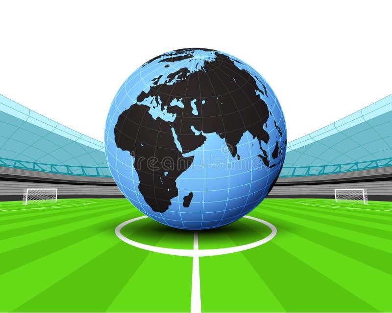 Глобус мира Африки в центре поля вектора футбольного стадиона бесплатная иллюстрация
