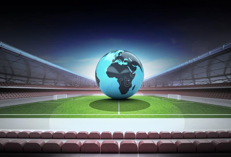 Глобус мира Африки в центре поля волшебного футбольного стадиона бесплатная иллюстрация