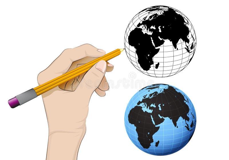 Глобус мира Африки как изолированный человеческий вектор чертежа руки иллюстрация штока