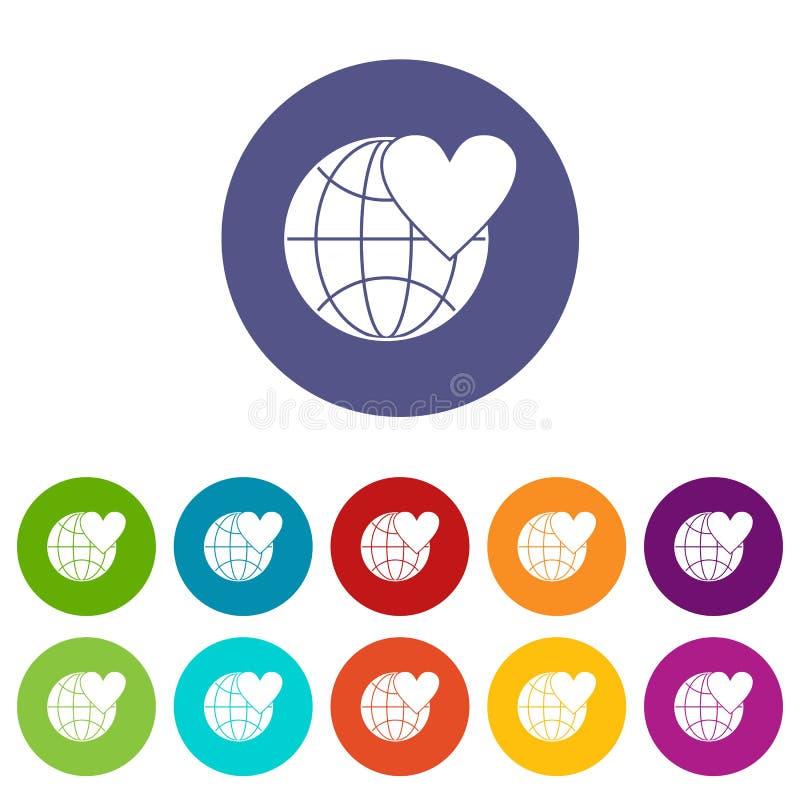 Глобус мира земли с значками сердца установленными иллюстрация вектора