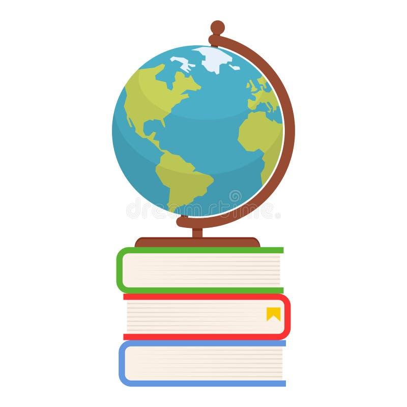 Глобус на значке красочных книг плоском на белизне бесплатная иллюстрация