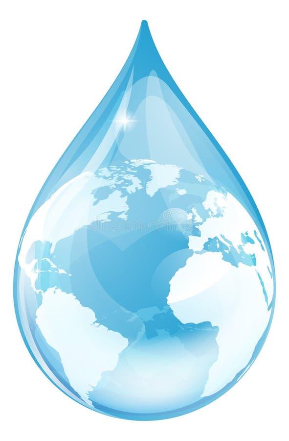 Глобус падения воды иллюстрация вектора
