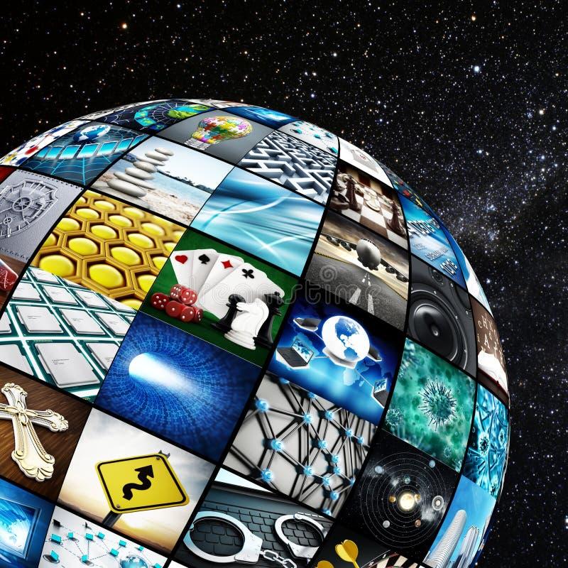 Глобус покрытый с экранами ТВ иллюстрация вектора