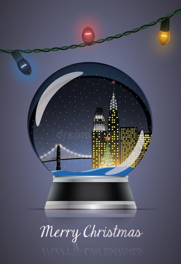 Глобус рождества с лампами иллюстрация штока