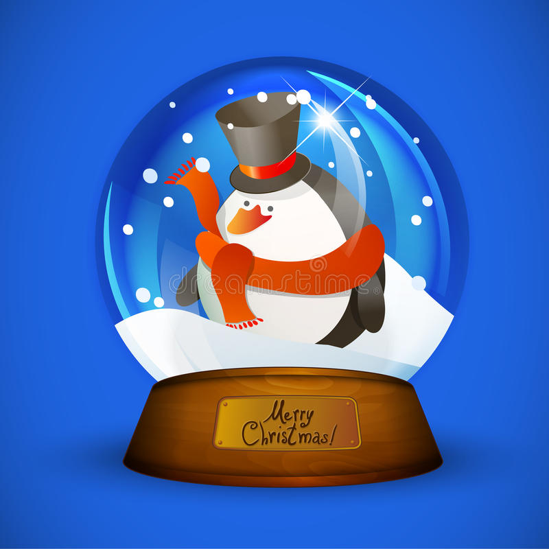 Глобус снега рождества с пингвином иллюстрация вектора