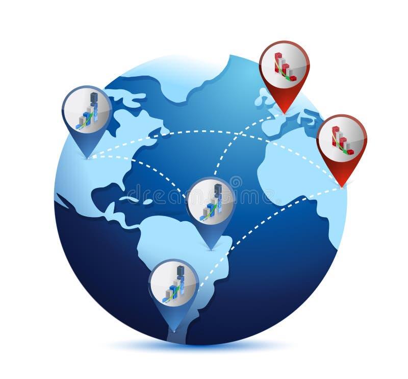 Глобус с международными ситуациями экономики иллюстрация штока