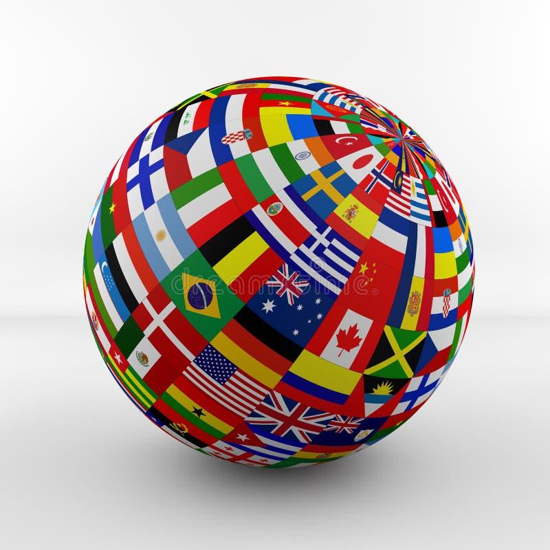 Глобус флага с различными флагами страны иллюстрация вектора