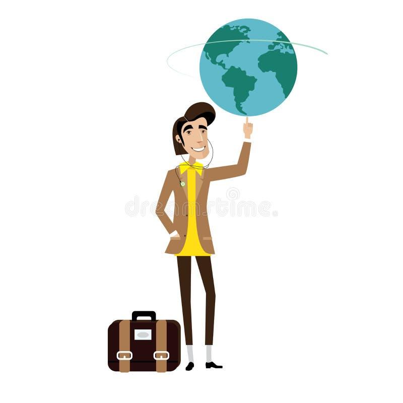 Глобус человека путешественника закручивая на пальце иллюстрация вектора