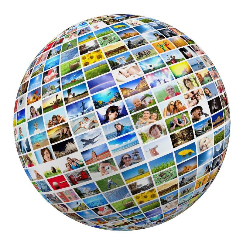 Глобус, шарик с различными изображениями людей, природы, объектов, мест стоковые изображения