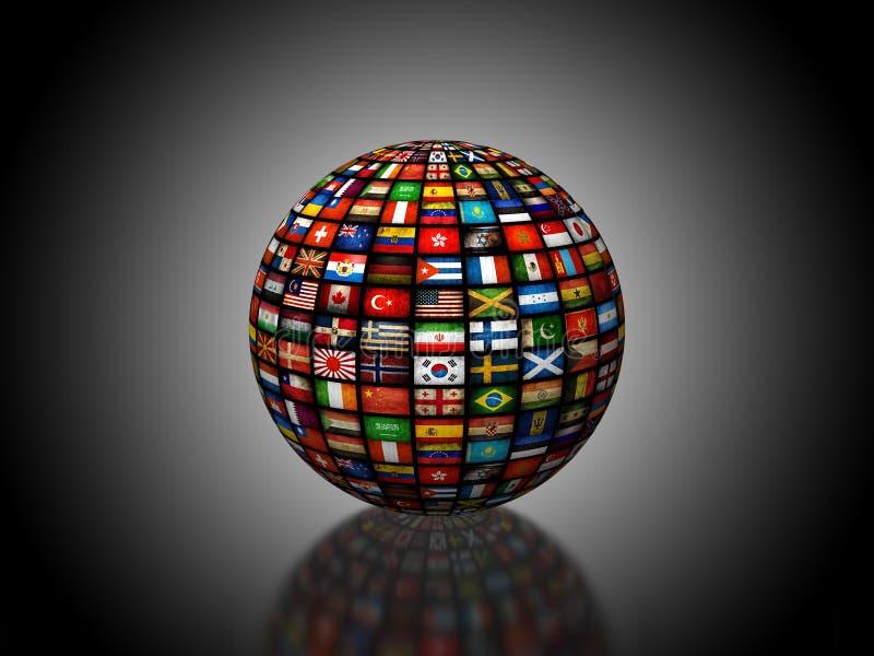Глобус 3D составленный флагами иллюстрация вектора