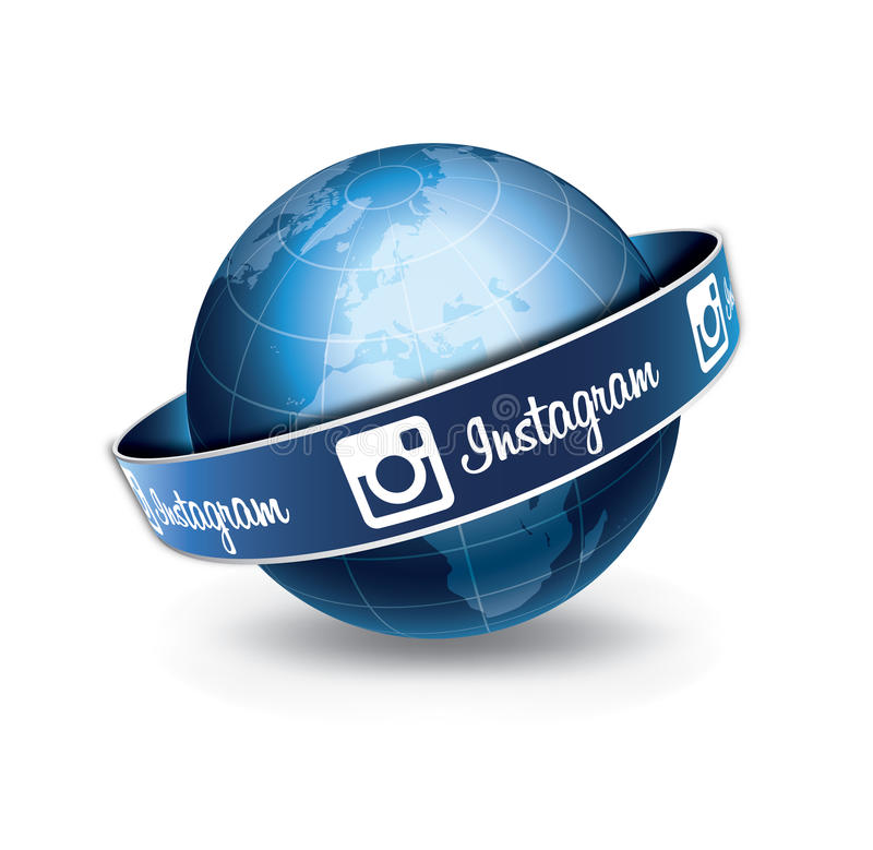 Глобус Instagram иллюстрация вектора