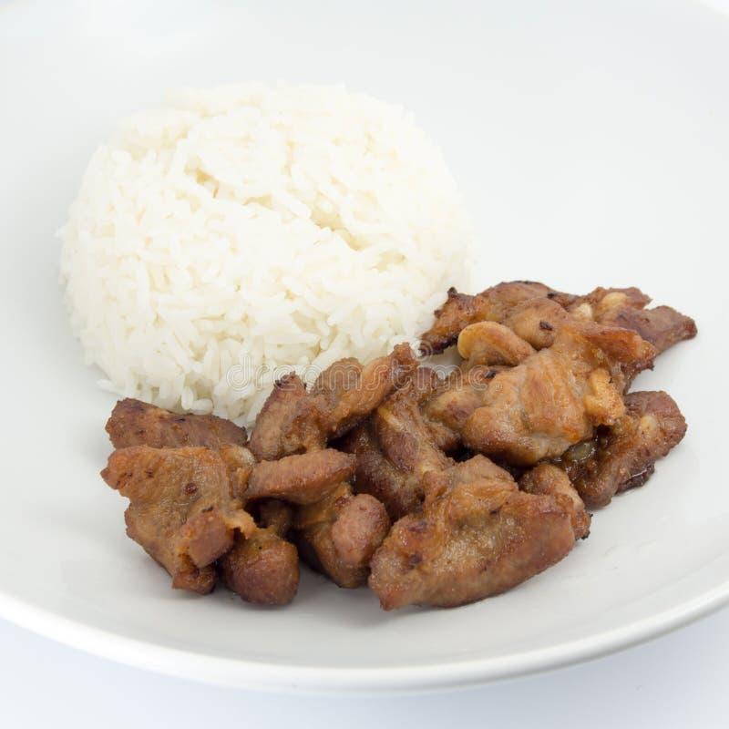 Глубокий зажаренный свинина с рисом стоковое изображение