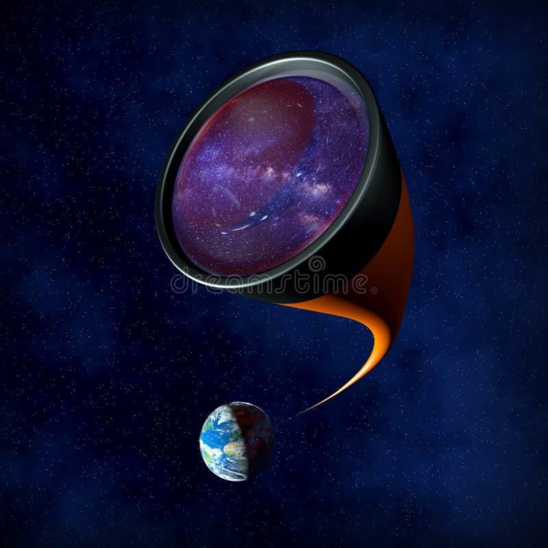 Глубокий телескоп исследования иллюстрация штока