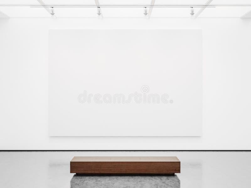 Глумитесь вверх интерьера галереи с белым холстом 3d стоковые фото