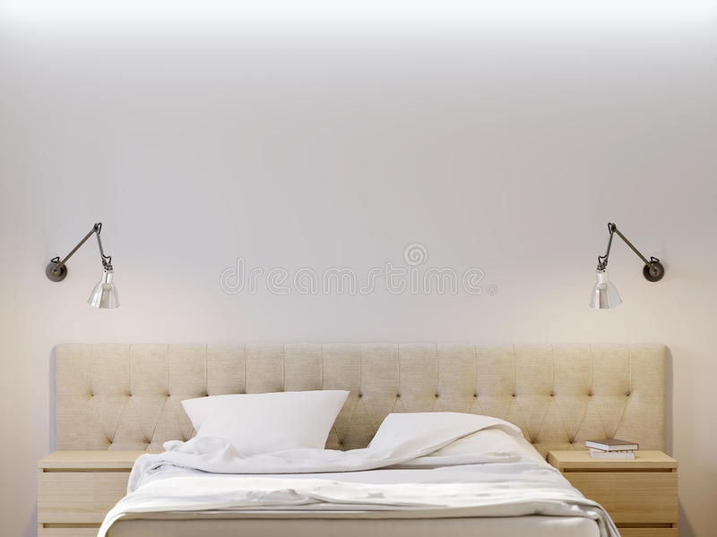 Глумитесь вверх по белой стене для интерьера спальни плаката иллюстрация штока