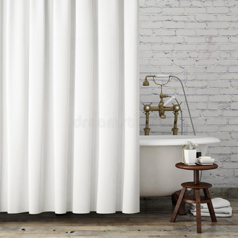 Глумитесь вверх по винтажной ванной комнате с белыми занавесами, внутренней предпосылке битника, стоковая фотография rf