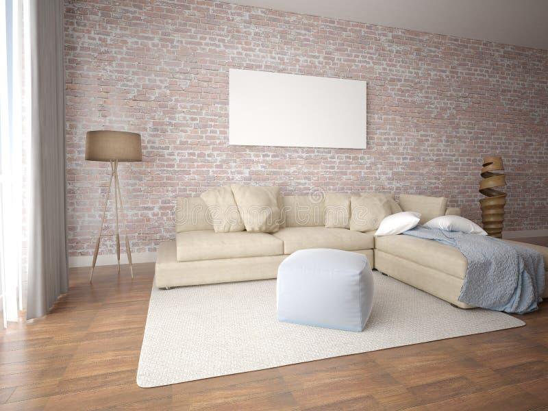 Глумитесь вверх по комнате плаката современной живущей с угловой софой иллюстрация вектора