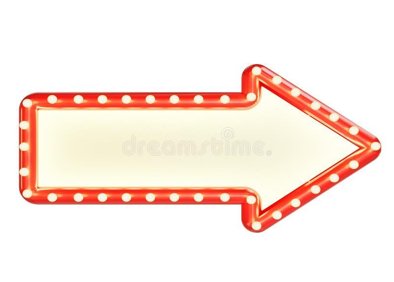 Глумитесь вверх по красному знаку стрелки капера при пустое пространство и электрические лампочки, изолированные на белой предпос иллюстрация штока