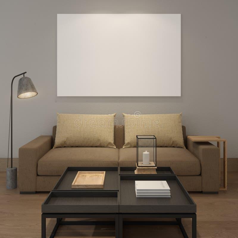 Глумитесь вверх по пустому плакату на серой стене живущей комнаты бесплатная иллюстрация