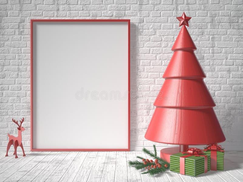 Download Глумитесь вверх по пустым картинной рамке, украшению рождественской елки и подаркам Иллюстрация штока - иллюстрации насчитывающей конспектов, счастливо: 81800204