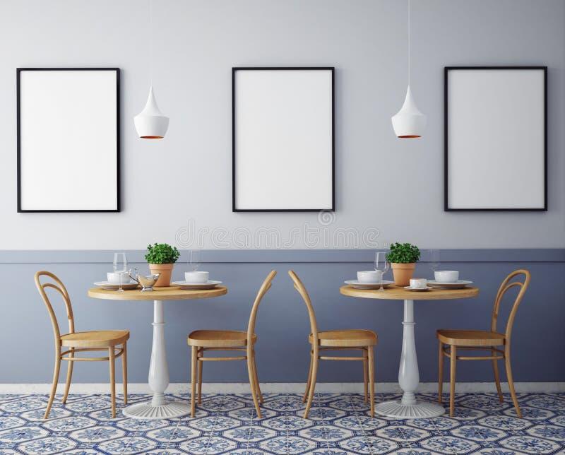 Глумитесь вверх по плакатам с предпосылкой ретро ресторана кафа битника внутренней, стоковые фотографии rf