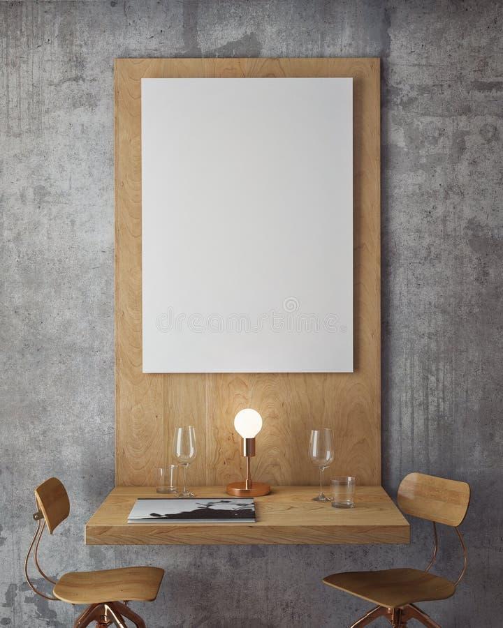 Глумитесь вверх по плакатам с предпосылкой ретро ресторана кафа битника внутренней, иллюстрация вектора