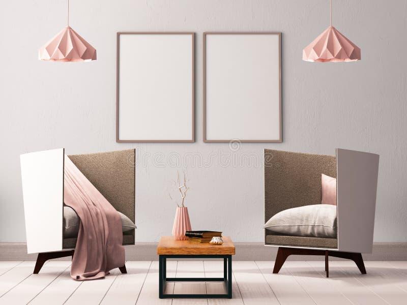 Глумитесь вверх по плакату в интерьере живущей комнаты с креслами и лампами 3d иллюстрация 3d представляет иллюстрация штока