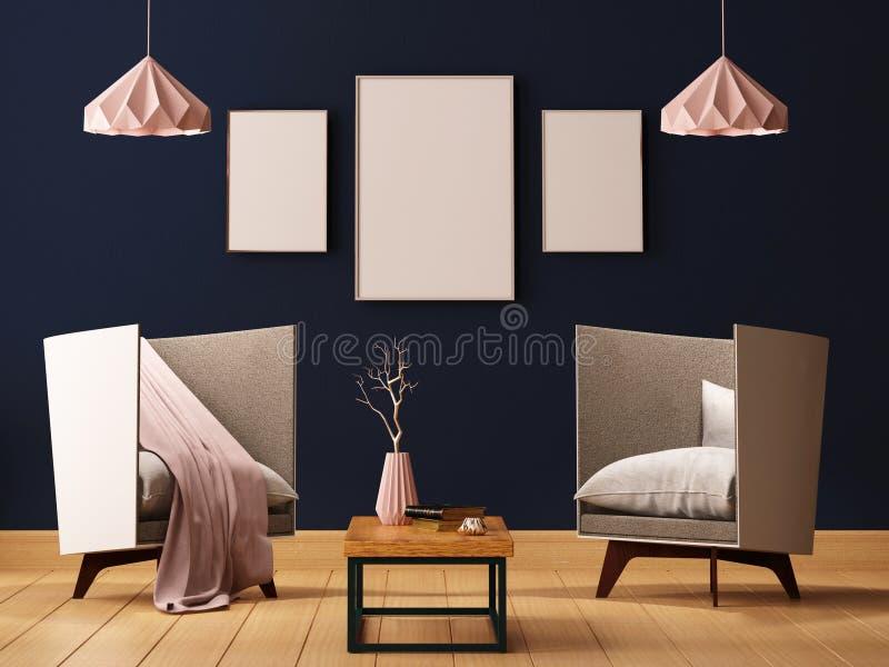 Глумитесь вверх по плакату в интерьере живущей комнаты с креслами и лампами 3d иллюстрация 3d представляет иллюстрация вектора