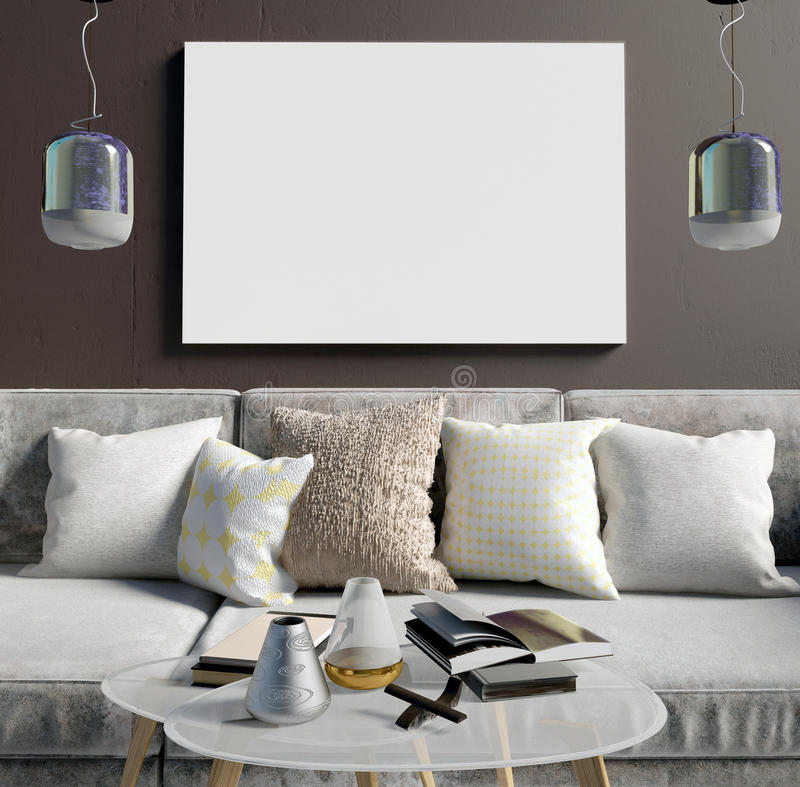 Глумитесь вверх по плакату в интерьере с журнальным столом и софой Живя ro иллюстрация вектора