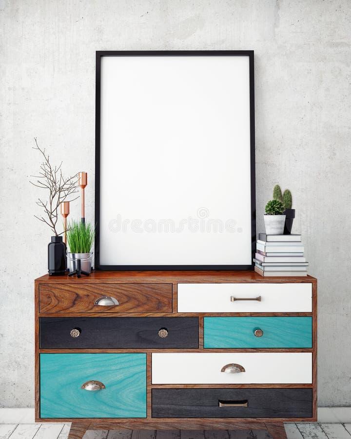 Глумитесь вверх по плакату с предпосылкой винтажной просторной квартиры битника внутренней, стоковые фото