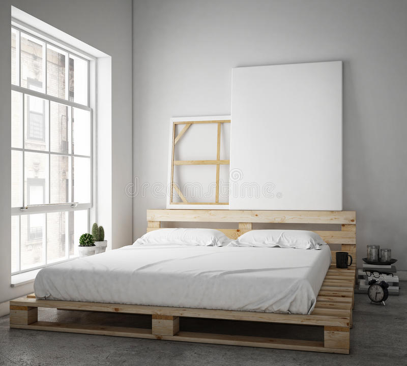 Глумитесь вверх по плакату с предпосылкой винтажной просторной квартиры битника внутренней, стоковое изображение