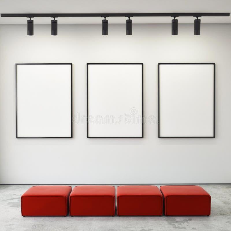Глумитесь вверх по рамкам и холсту плакатов в предпосылке галереи внутренней, стоковое изображение
