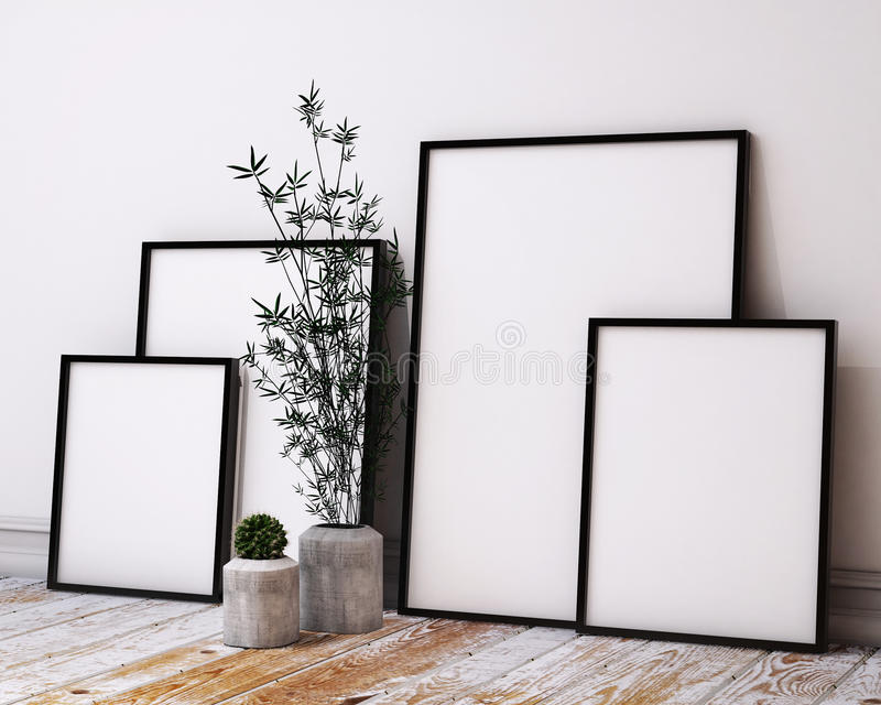 Глумитесь вверх по рамкам плаката в интерьере просторной квартиры битника иллюстрация вектора