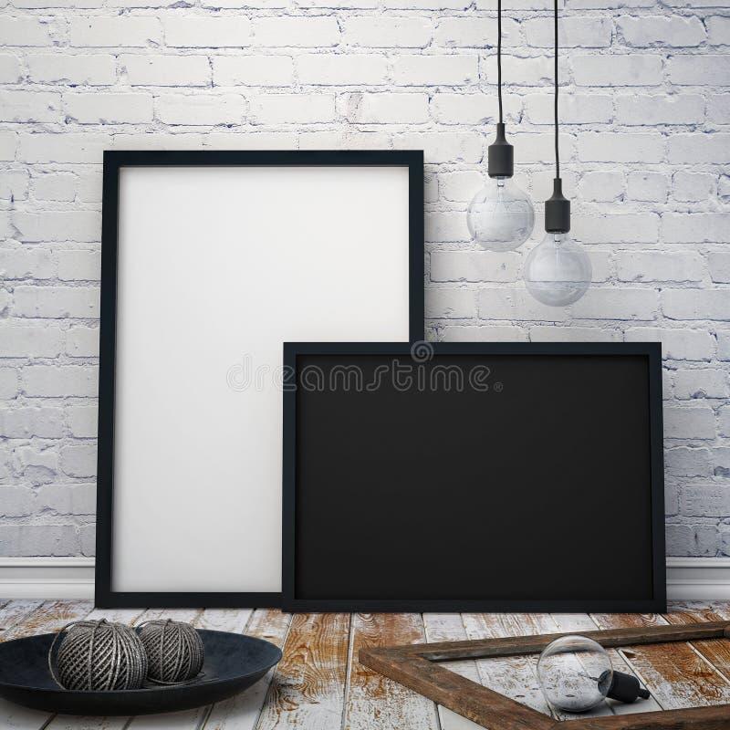 Глумитесь вверх по рамкам плакатов с винтажной предпосылкой битника иллюстрация вектора