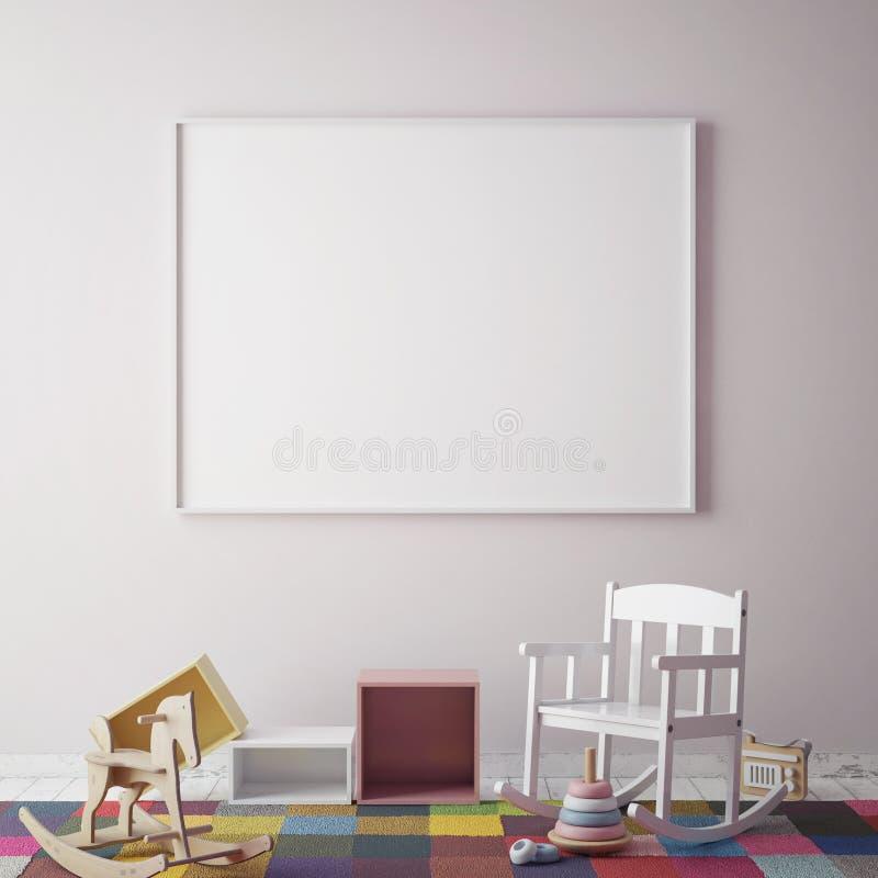 Глумитесь вверх по рамке плаката в комнате битника, предпосылке скандинавского стиля внутренней, 3D представьте бесплатная иллюстрация