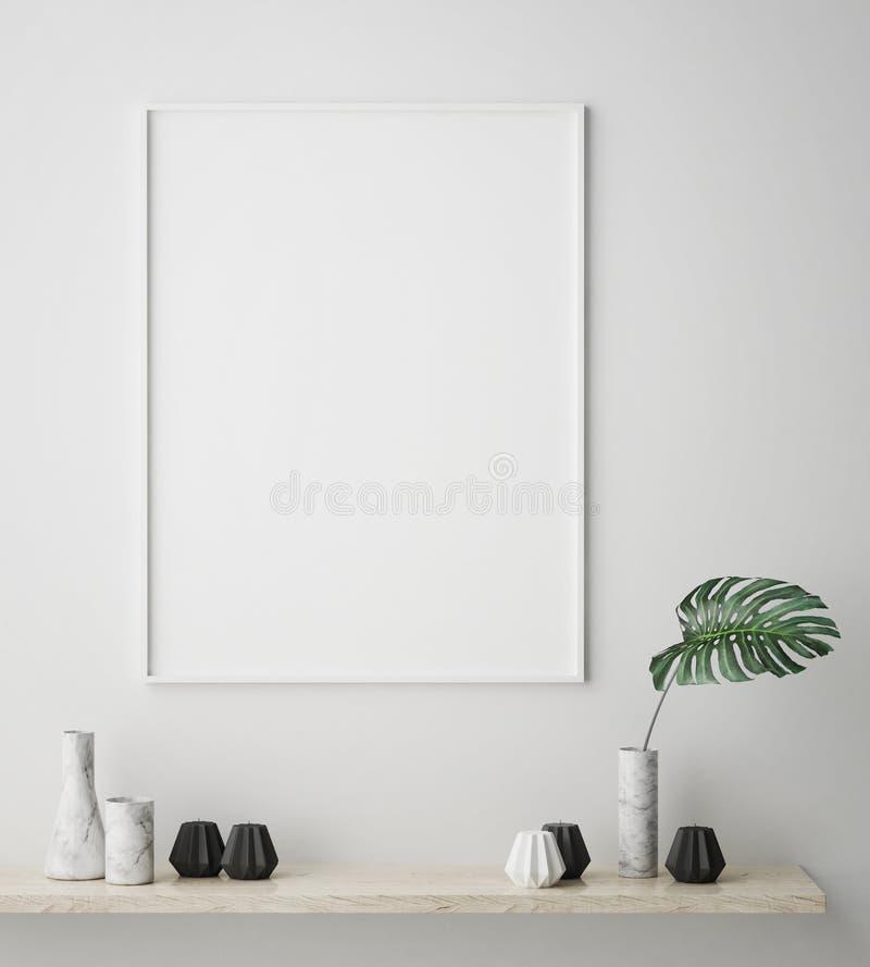 Глумитесь вверх по рамке плаката в предпосылке битника внутренней, скандинавском стиле, 3D представьте иллюстрация штока