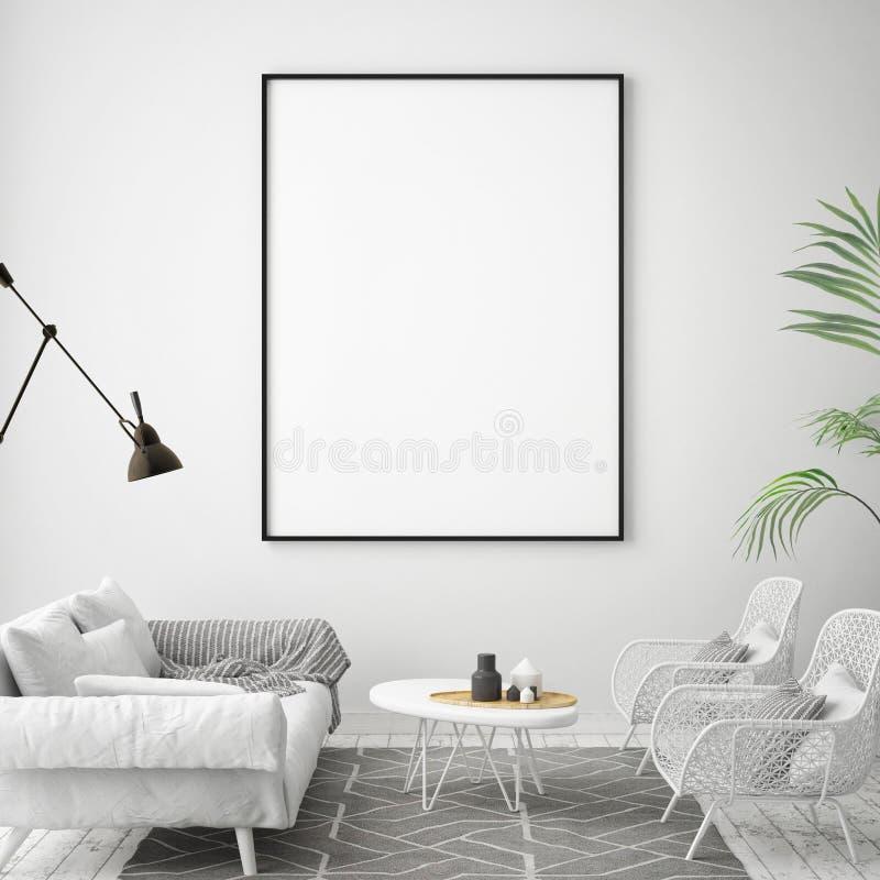 Глумитесь вверх по рамке плаката в предпосылке битника внутренней, скандинавском стиле, бесплатная иллюстрация