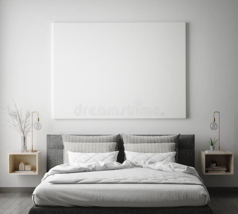 Глумитесь вверх по рамке плаката в предпосылке спальни битника внутренней, скандинавском стиле, 3D представьте иллюстрация штока